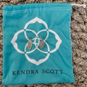 Kendra Scott Silver Drop Earrings-Iridescent Drusy
